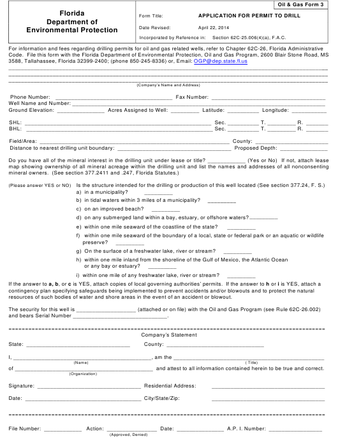 DEP Oil&Gas Form 3  Printable Pdf