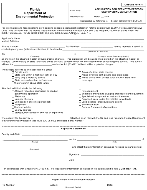 DEP Oil&Gas Form 4  Printable Pdf