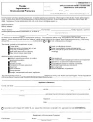 DEP Oil&Gas Form 4 Application for Permit to Perform Geophysical Exploration - Florida