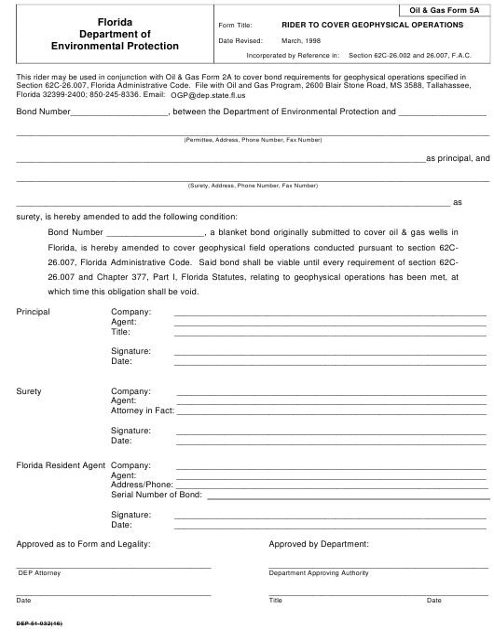 DEP Oil&Gas Form 5A  Printable Pdf