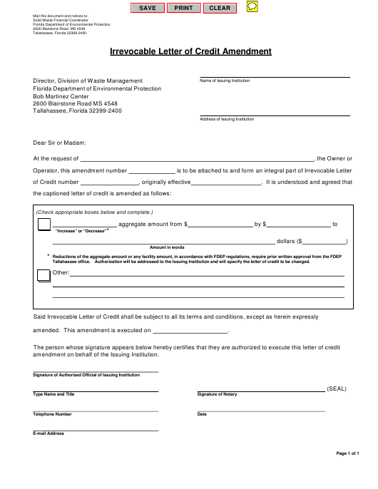 """Irrevocable Letter of Credit Amendment Form"" - Florida Download Pdf"