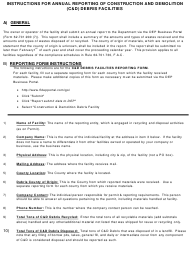 Instructions for Form 62-701.900(7) - Annual Report for a Construction and Demolition (C&d) Debris Facility