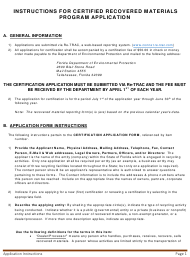 Instructions for Certified Recovered Materials Program Application