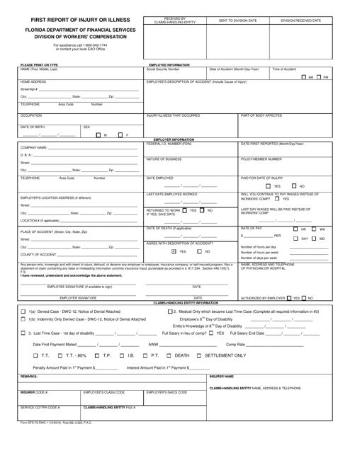 Form DFS-F2-DWC-1  Printable Pdf