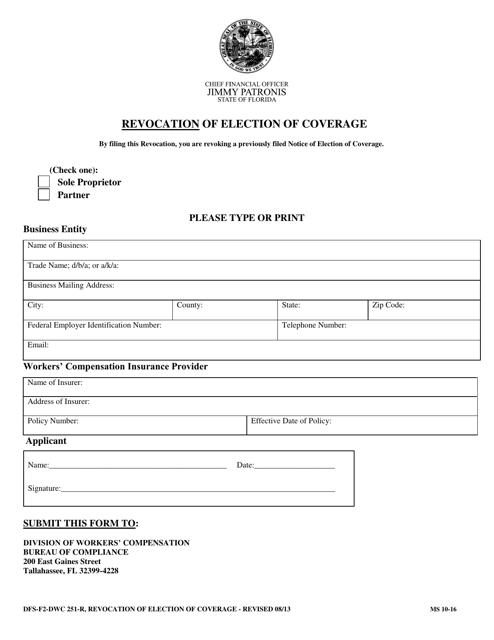 Form DFS-F2-DWC 251-R Printable Pdf