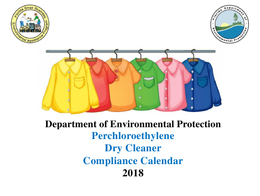2018 Perchloroethyle Dry Cleaner Compliance Calendar - Florida Download Pdf