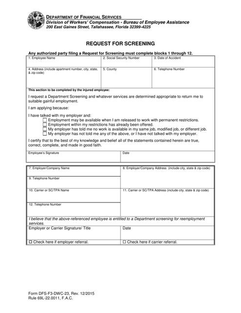 Form DFS-F3-DWC-23 Printable Pdf