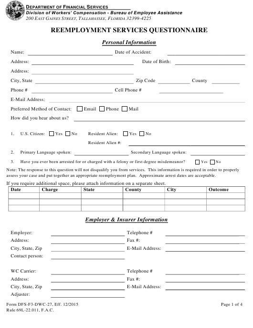 Form DFS-F3-DWC-27  Printable Pdf