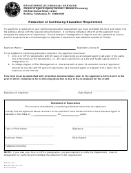 "Form DFS-H2-1109 ""Reduction of Continuing Education Requirement"" - Florida"