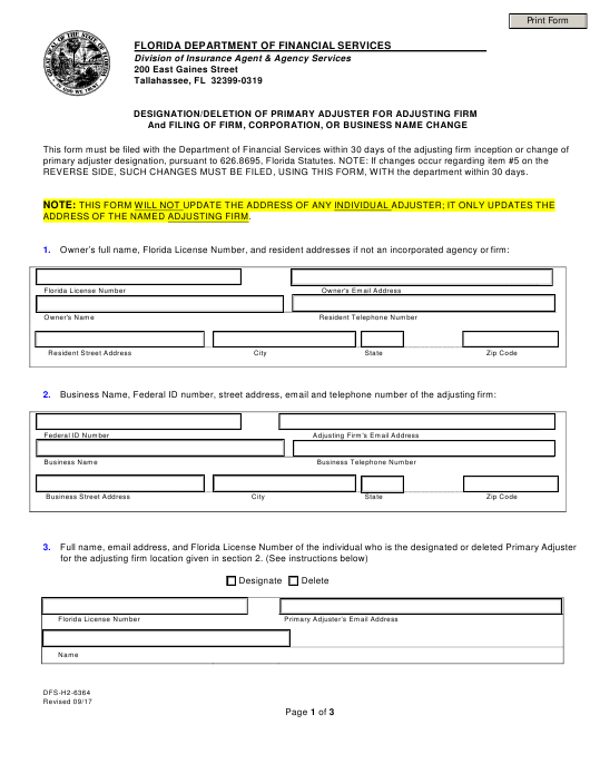 Form DFS-H2-6364  Printable Pdf