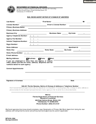 "Form DFS-H2-1564 ""Bail Bond Agent Notice of Change of Address"" - Florida"