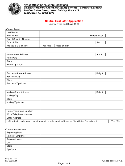 Form DFS-H2-1783 Printable Pdf