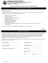 """Form DFS-H2-1428 """"Agent Qualification and Verification of Experience Form"""" - Florida"""