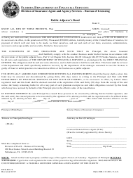 "Form DFS-H2-72 ""Public Adjuster's Bond"" - Florida"