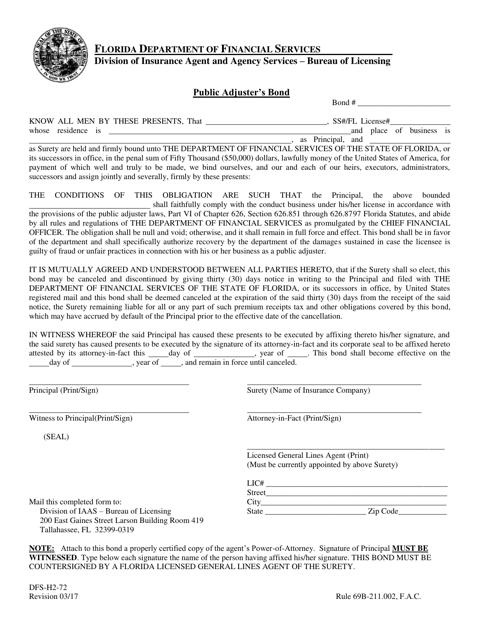Form DFS-H2-72 Printable Pdf
