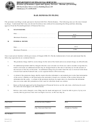 "Form DFS-H2-503 ""Bail Bond Rate Filing"" - Florida"