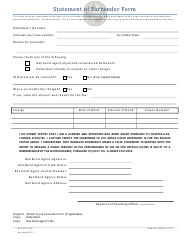 "Form DFS-H2-1542 ""Statement of Surrender Form"" - Florida"