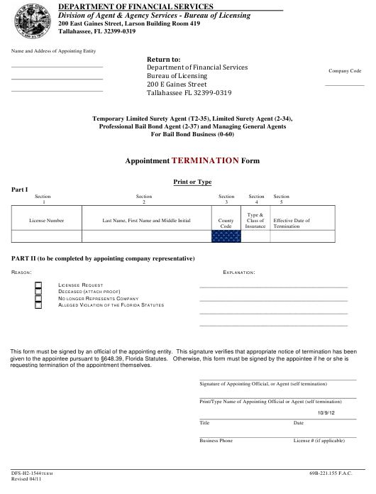 Form DFS-H2-1544TERM Printable Pdf