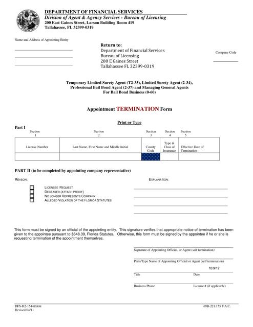 Form DFS-H2-1544TERM  Printable Pdf