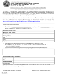 "Form DFS-H2-1105 ""Affidavit of Insurance Activity While Not Properly Appointed"" - Florida"