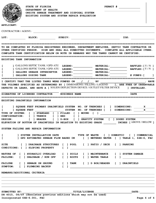 Form DH4015 Printable Pdf