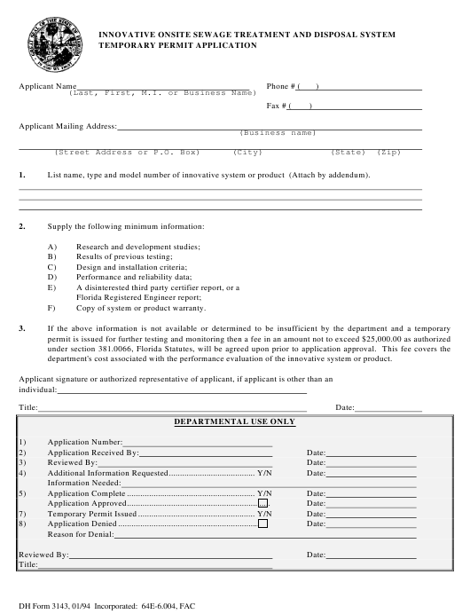 Form DH3143  Printable Pdf
