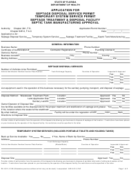 "Form DH4012 ""Application for Septage Disposal Service Permit, Temporary System Service Permit, Septage Treatment and Disposal Facility, Septic Tank Manufacturing Approval"" - Florida"