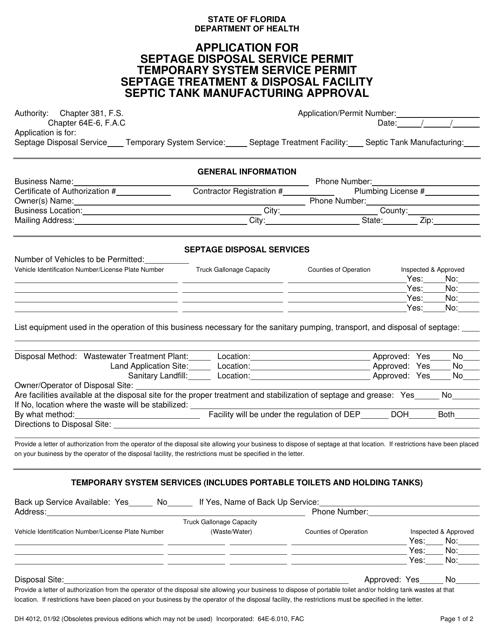 Form DH4012  Printable Pdf