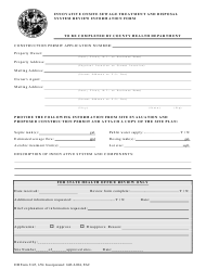 "Form DH3145 ""Innovative Onsite Sewage Treatment and Disposal System Review Information Form"" - Florida"