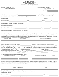 "Form DH4066 ""Application for Maintenance Service Permit"" - Florida"