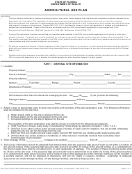 "Form DH4012A ""Agricultural Use Plan"" - Florida"