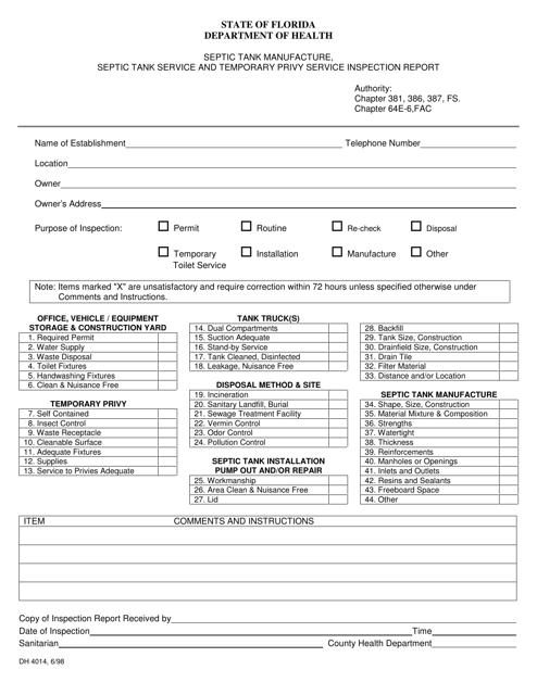 Form DH4014  Printable Pdf