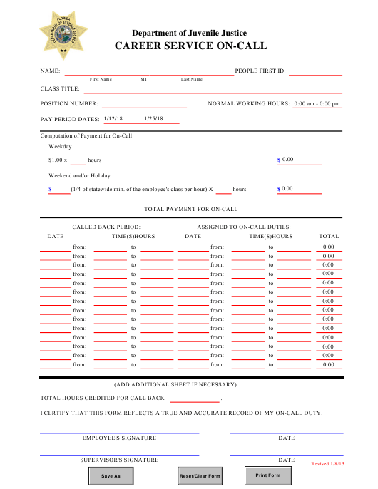 """Career Service on-Call Form"" - Florida Download Pdf"