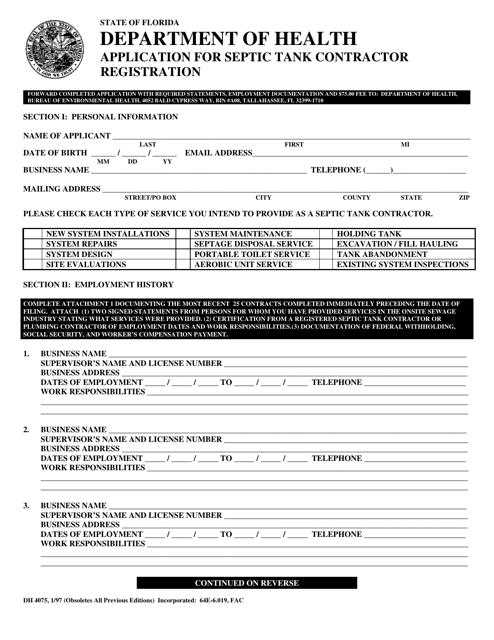 Form DH4075  Printable Pdf