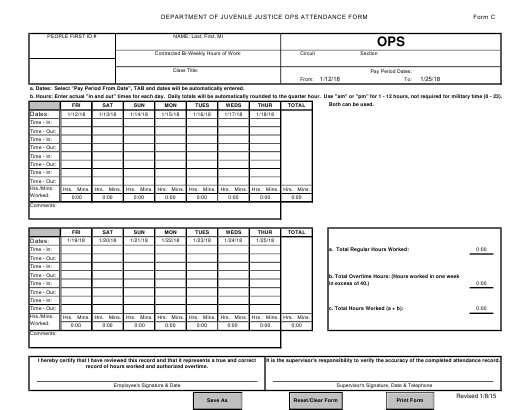 DJJ Form C  Printable Pdf