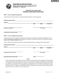 "Form DFS-H2-1509 ""Temporary Bail Bond Agent Mandatory Employment Verification"" - Florida"