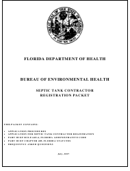 """Septic Tank Contractor Registration Packet"" - Florida"