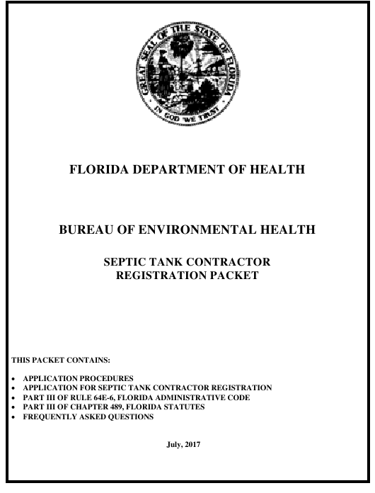 """""""Septic Tank Contractor Registration Packet"""" - Florida Download Pdf"""