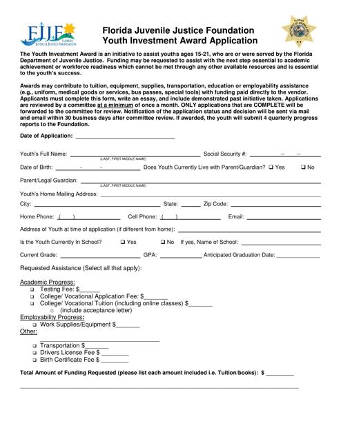 """Florida Juvenile Justice Foundation Youth Investment Award Application Form"" - Florida Download Pdf"