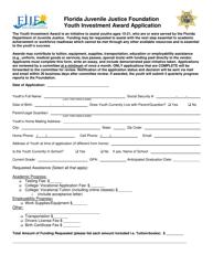 Florida Juvenile Justice Foundation Youth Investment Award Application Form - Florida