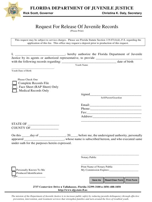 """""""Request for Release of Juvenile Records"""" - Florida Download Pdf"""