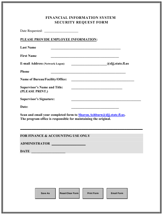 """""""Security Request Form - Financial Information System"""" - Florida Download Pdf"""