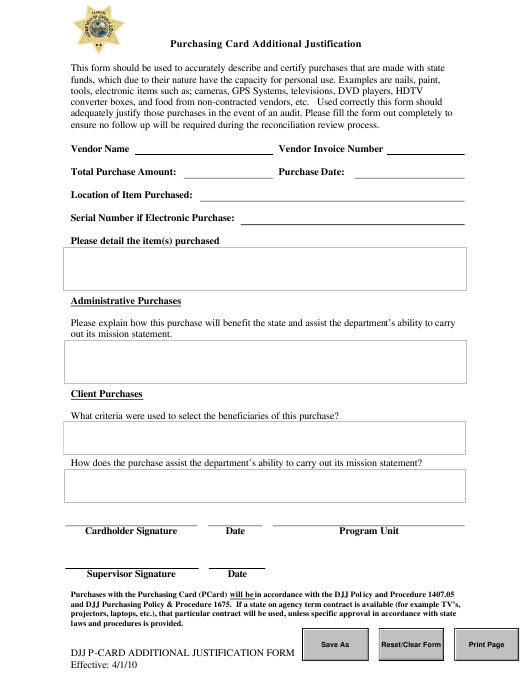 """Purchasing Card Additional Justification Form"" - Florida Download Pdf"