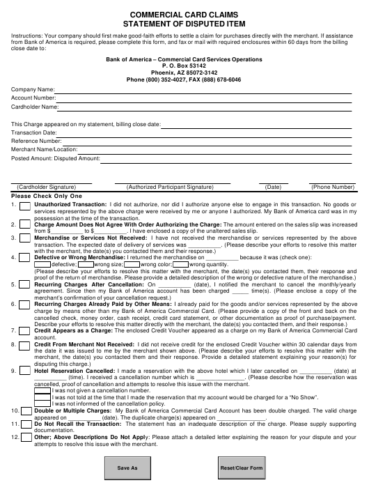 """Statement of Disputed Item - Commercial Card Claims"" - Florida Download Pdf"