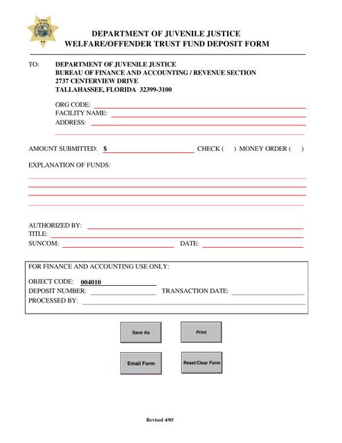 """Welfare/Offender Trust Fund Deposit Form"" - Florida Download Pdf"