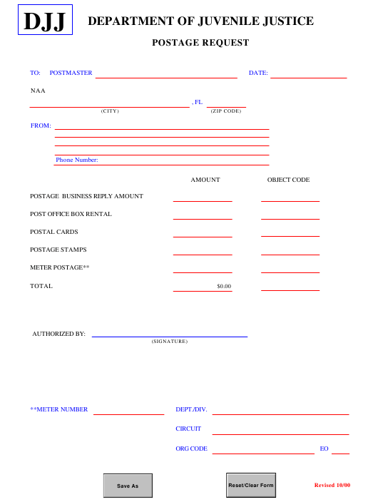 """Postage Request Form"" - Florida Download Pdf"