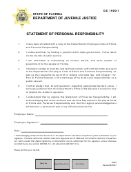 "DJJ Form GC1900-1 ""Statement of Personal Responsibility"" - Florida"