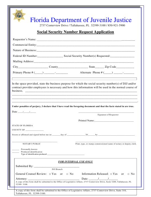 """Social Security Number Request Application Form"" - Florida Download Pdf"