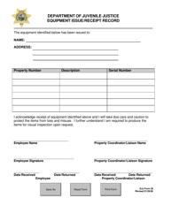 "DJJ Form 26 ""Equipment Issue/Receipt Record"" - Florida"