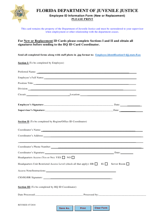 """Employee Id Information Form (New or Replacement)"" - Florida Download Pdf"